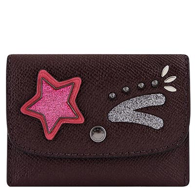 COACH 深咖啡色防刮皮革星星徽章鉚釘證件名片短夾