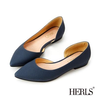 HERLS OL穿搭必備 內真皮尖頭平底鞋-藍色