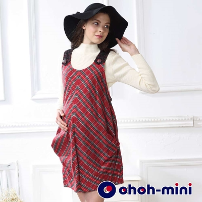 ohoh-mini 孕婦裝 蘇格蘭紋抓褶孕婦背心洋裝-紅色