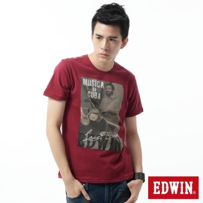 EDWIN T恤 樂手繡花圓領T恤-男-朱紅