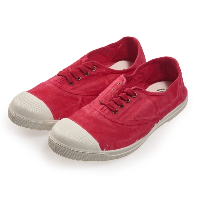 (女)Natural World 西班牙休閒鞋 刷色4孔綁帶基本款*桃紅色