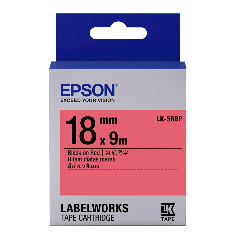 EPSON C53S655403 LK-5RBP粉彩系列紅底黑字標籤帶(寬度18mm)