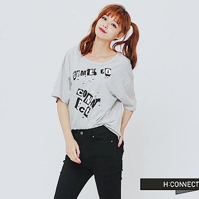 H:CONNECT 韓國品牌 女裝-街頭感微露背T-Shirt-灰 - 動態show