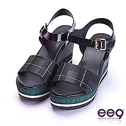 ee9 花漾年華鏤空露趾微透裸肌楔型跟涼鞋 黑色
