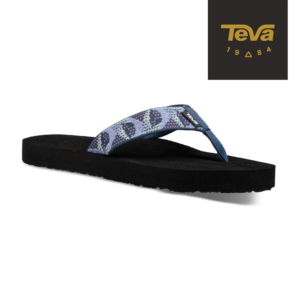 TEVA 原廠貨-女 Mush II 經典織帶夾腳拖鞋/雨鞋/水鞋 海軍藍/紫