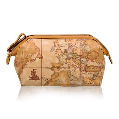 Alviero Martini 義大利地圖包 尼龍拉鍊化妝包(中)-地圖黃