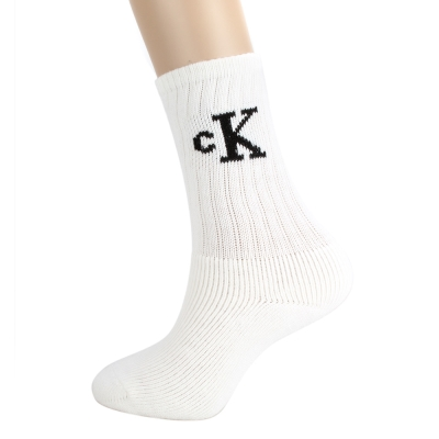 Calvin Klein CK直筒束口LOGO厚底紳士襪-白色