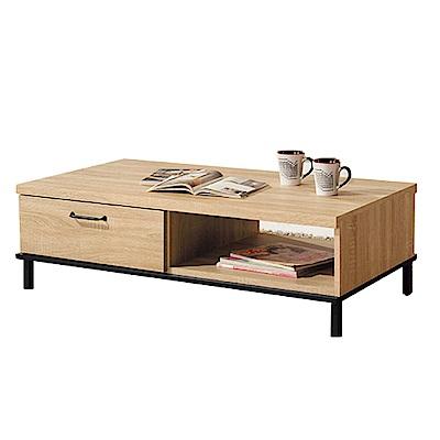 品家居 布萊克4尺木紋雙抽大茶几(二色可選)-121x60x39cm免組