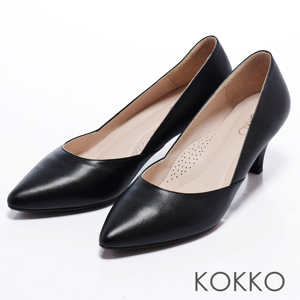 KOKKO舒壓透氣 - 尖頭素面側斜切高跟鞋 - 爵士黑