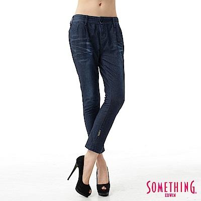 SOMETHING AB褲LADIVA小泡TAPERED牛仔褲-女-原藍磨