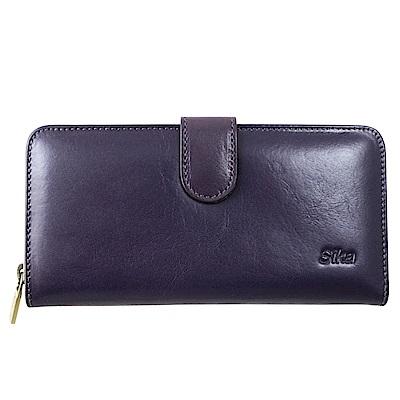 Sika義大利時尚真皮拉鍊壓扣長夾A8251-07木槿紫