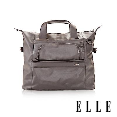 福利品 ELLE 優雅魅力防汙防潑水大容量手提側背兩用包- 灰色