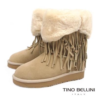 Tino Bellini 波西米亞毛領雪靴_杏