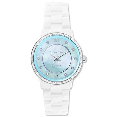 RELAX TIME 輕熟奢華貝殼陶瓷錶款-白x蒂芬妮綠/30mm