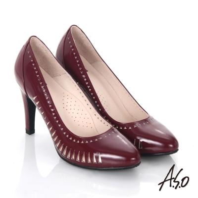 A.S.O 輕透美型 鏡面真皮側鏤空高跟鞋 酒紅色