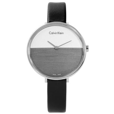 CK RISE 迷人晨曦海平面木紋質感皮革女錶-白灰x黑/37mm