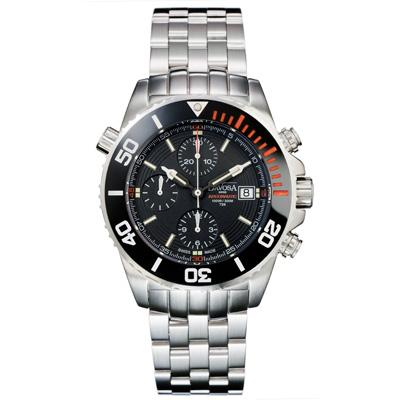 DAVOSA Argonautic T25 300米潛水計時碼錶-黑/不鏽鋼/橘刻42mm