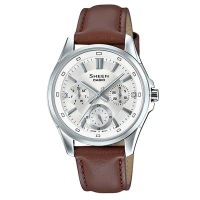 SHEEN優雅迷人風采羅馬數字時刻皮帶腕錶(SHE-3060L-7)白面X咖啡39mm