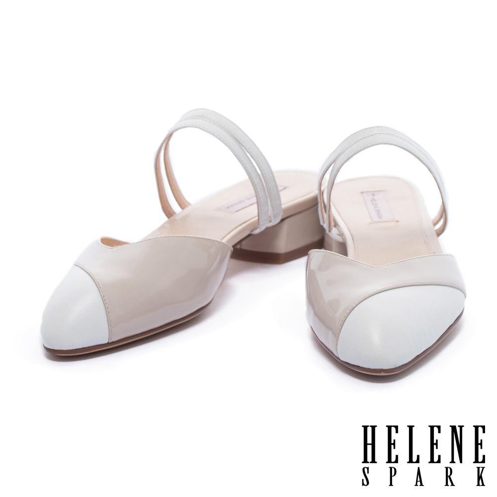 拖鞋 HELENE SPARK 復古撞色異材質拼接尖頭繫帶低跟拖鞋-米