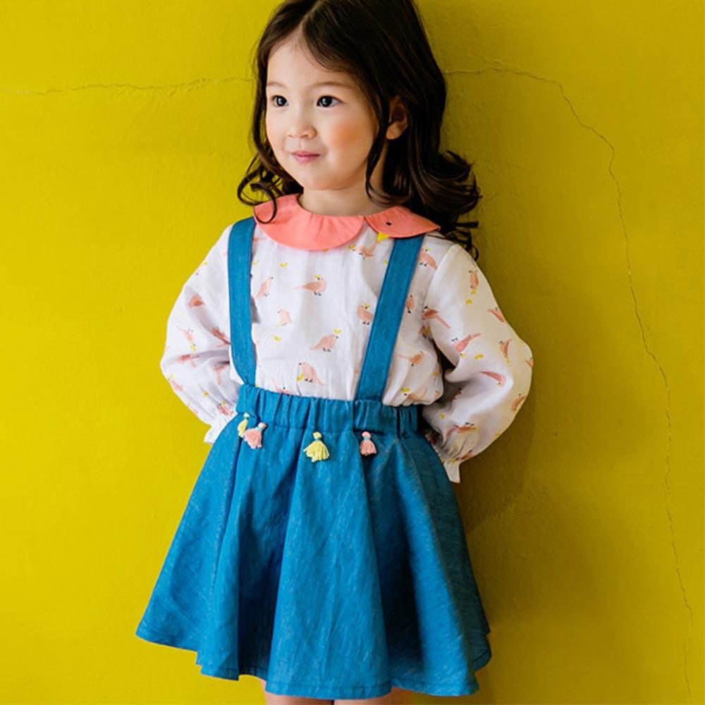 BEBEZOO 韓國 粉色滿版小鳥圓領長袖上衣