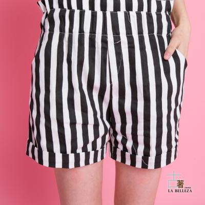 古著-荷葉腰鬆緊黑白粗直條反折短褲-La-Belleza