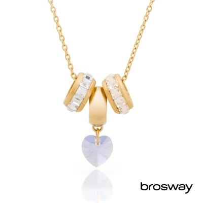 brosway Tres Jolie 施華洛世奇水鑽不鏽鋼項鍊 金/心鑽紫