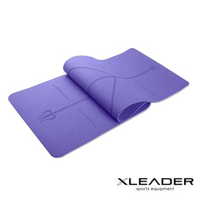 Leader X 環保TPE雙面防滑體位線瑜珈墊6mm 附收納繩 紫色 - 急