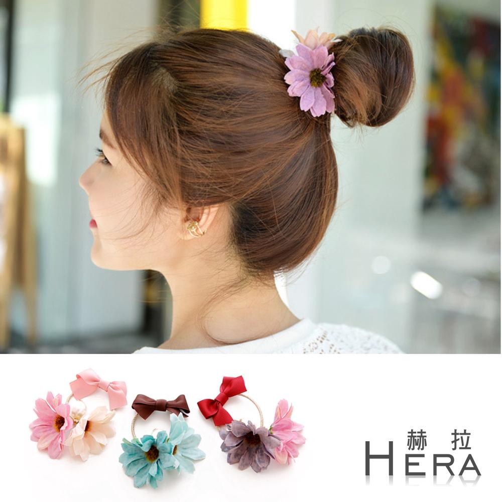 Hera 撞色雙花朵蝴蝶結髮圈/髮束-(三色)