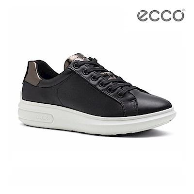 ECCO SOFT 3 潮流厚底增高休閒鞋-黑
