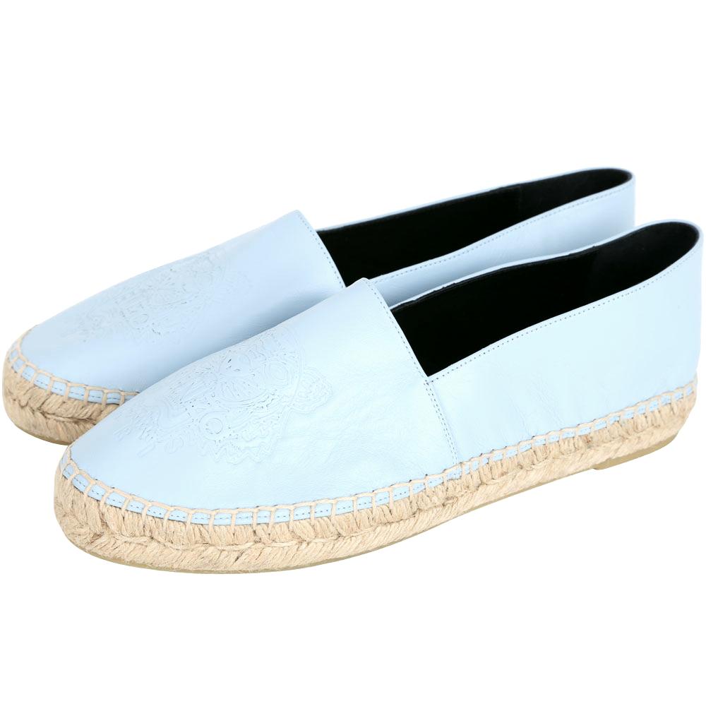 KENZO Leather Tiger 虎頭皮革草編平底鞋(天空藍/薄版)
