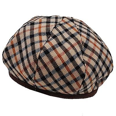 DAKS 優雅格紋LOGO羊毛貝蕾帽(卡其格/咖啡邊)