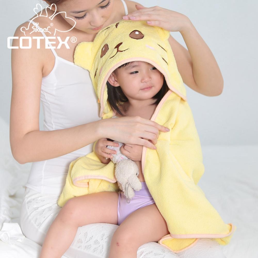 COTEX可透舒  可愛造型浴巾 泰可虎鵝黃色