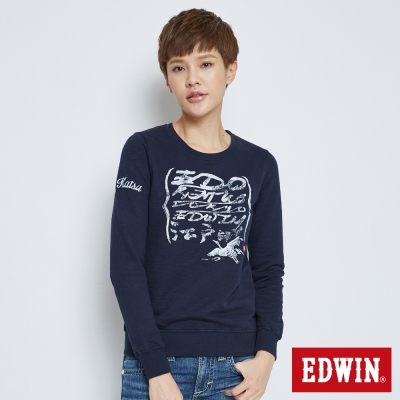 EDWIN EDO KATSU 江戶勝祥鶴繪字長袖T恤-女-丈青