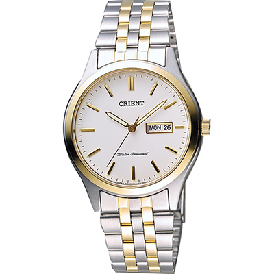 ORIENT 東方錶 都會石英腕錶-白x半金/38mm