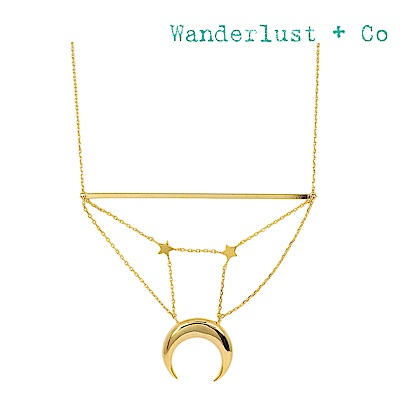 Wanderlust+Co 澳洲品牌 閃耀星月銀河長項鍊