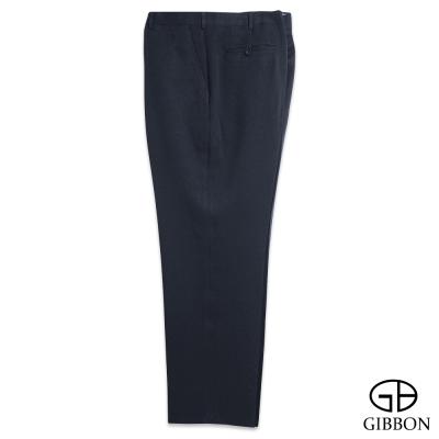 GIBBON 大尺碼超細纖維質感平口西裝褲‧暗藍