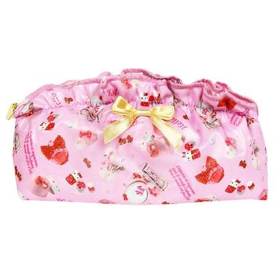 Sanrio HELLO KITTY法式浪漫系列緞面網紗水餃型化妝包(甜蜜梳妝)