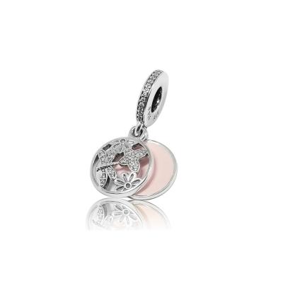 Pandora 潘朵拉 垂墜鑲鋯蜻蜓蝴蝶花朵 純銀墜飾 串珠