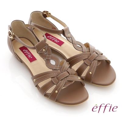 effie 悠閒渡假 全真皮交叉編織平底涼鞋 咖啡