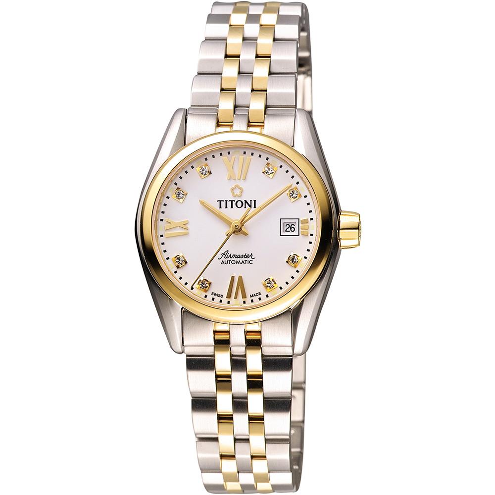 TITONI Airmaster 復刻日曆晶鑽腕錶-銀x雙色版/27mm