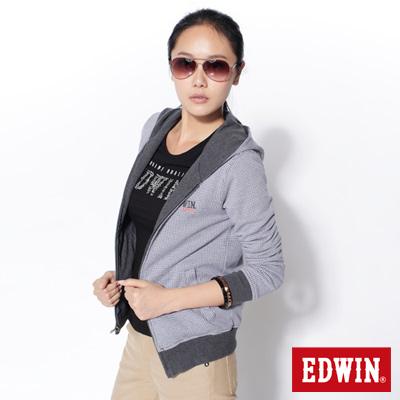 EDWIN-感官效果-千鳥格雙面穿長袖拉T-女款-灰色