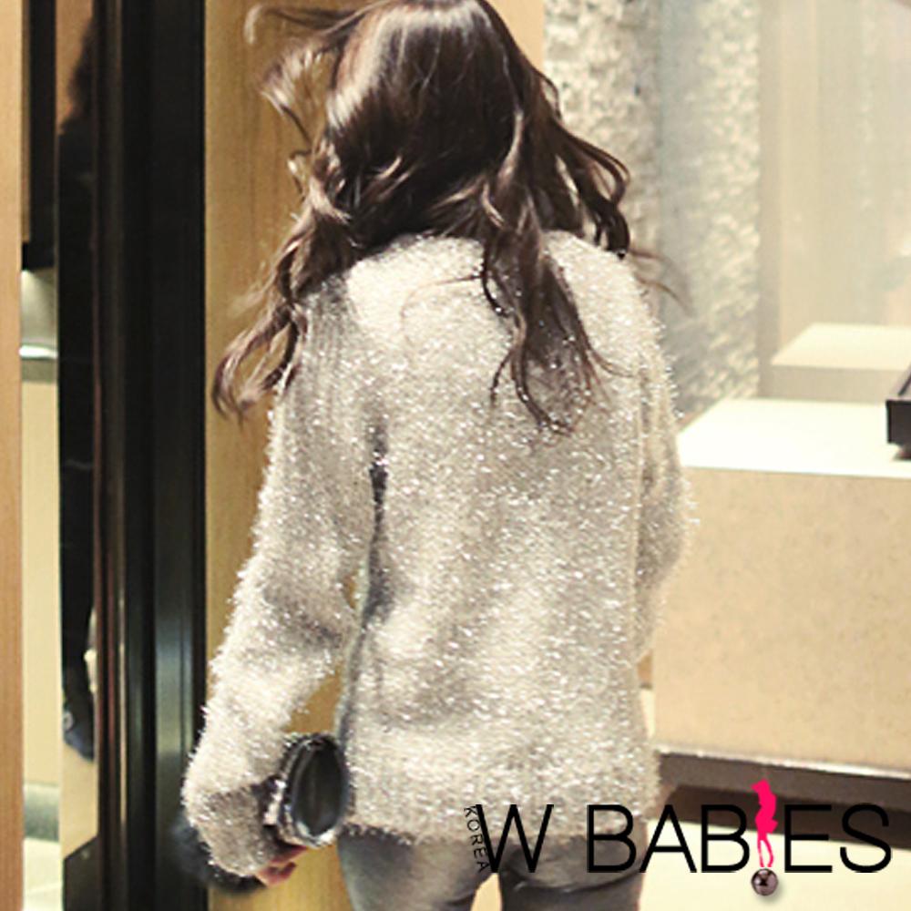 閃耀混金蔥亮感毛鬚針織衫 (銀色)-W BABIES