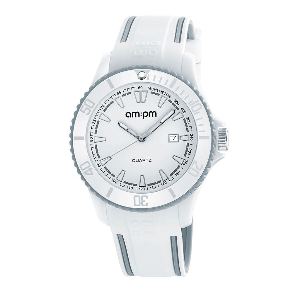AM:PM瑞士精品手錶 CLUB系列 白X灰錶框 白色錶盤/灰白色錶帶45mm