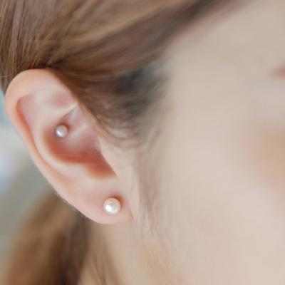 梨花HaNA-無耳洞單顆珍珠簡單的樣子耳環夾式
