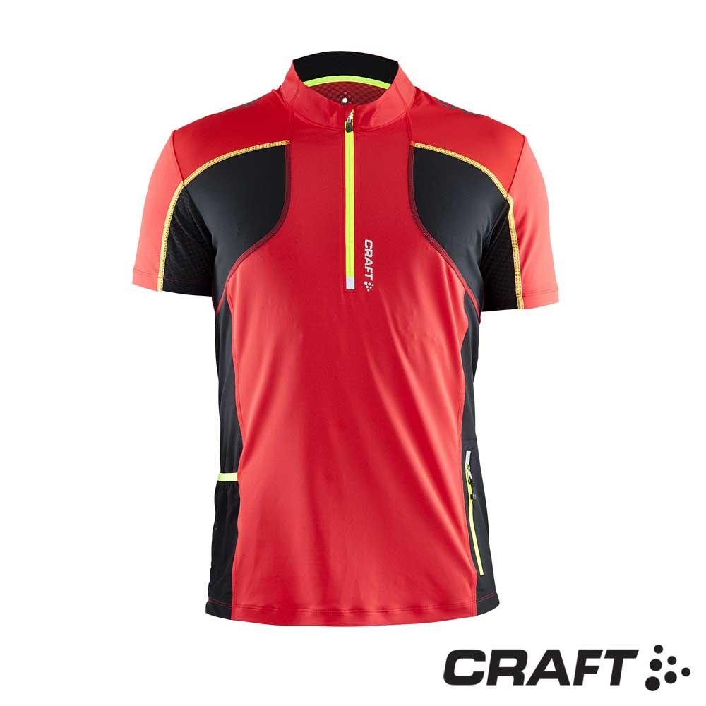 【瑞典 Craft】男款 Trail SS shirt 短袖拉鍊排汗衣_紅