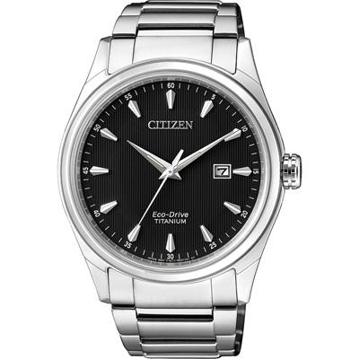 CITIZEN-時光懷舊光動能日期腕錶-黑-BM7