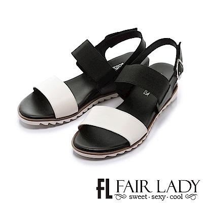 Fair Lady 舒適一字鬆緊拼色內增高涼鞋 黑
