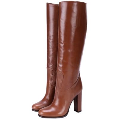 PRADA 小牛皮革素面高跟長靴(咖啡色)