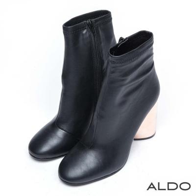 ALDO 原色布面拉鍊金屬圓柱粗跟靴~尊爵黑色