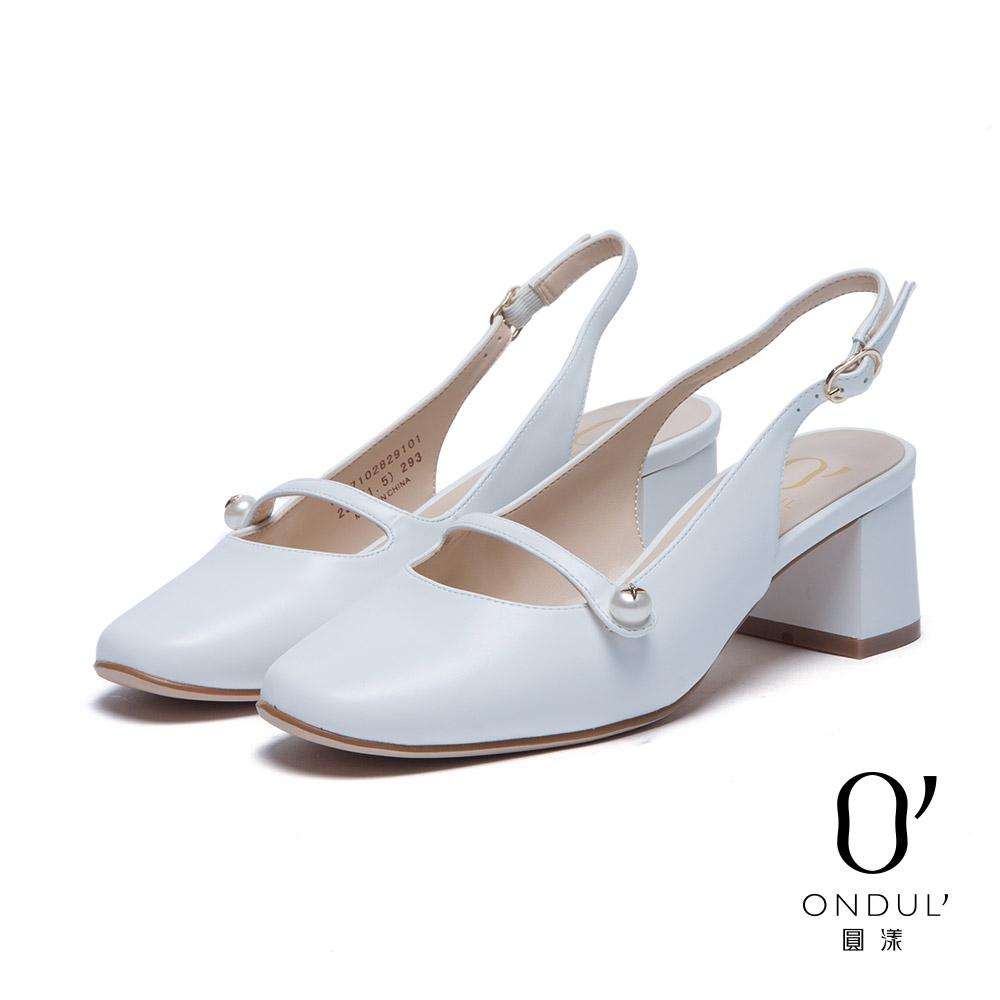 達芙妮x高圓圓圓漾系列高跟鞋-復古瑪莉珍後拉帶粗跟鞋-白